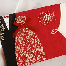 Red And Black Wedding Invitations Special Wedding Invitations Cards Folded With Red Bridal And Groom