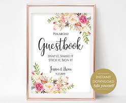 Wedding Signs Template Polaroid Guestbook Sign Template Printable Guest Book Wedding