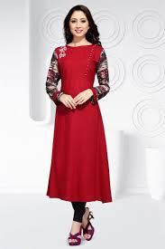 buy stylish red color party wear designer kurti in rayon fabric