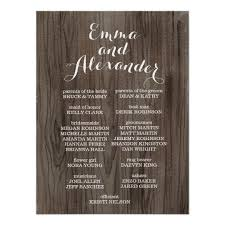 wedding programs rustic rustic wedding program wedding party sign zazzle