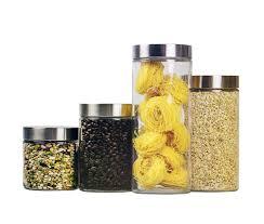 amazon com home basics canister set glass 4 piece home kitchen