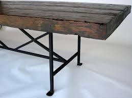 Dos Gallos Custom Reclaimed Wood Dining Table With Hand Forged Iron