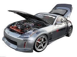 rs nissan 350z car hood open