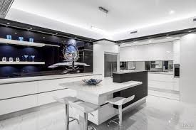 Black White Kitchen Cabinets by Luxury Kitchen Design Black Cabinets Floating Shelves Double