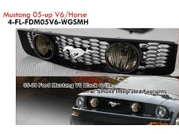 Black Mustang Grille Emblem Front Grille With Foglight For Ford Mustang V6 2005 2009 With
