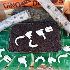 halloween dirt cake dinosaur dig cake with easy chocolate fossils cookie