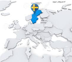 Europe On Map by Highlighted Sweden On Map Of Europe With National Flag Stock Photo