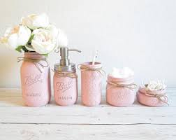 Peach Bathroom Accessories by Mason Jar Decor Etsy