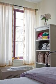 White Curtains With Pom Poms Decorating Pom Pom Trim On Curtains Pinteres