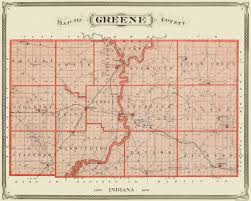 County Map Of Indiana Old County Map Greene Indiana Landowner 1876