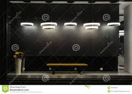 empty store window with led light bulbs led lamp used in shop