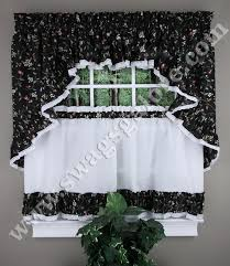 Ruffled Kitchen Curtains Cherries Ruffled Kitchen Curtains Cafe Tiers Swags Valance