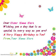 What To Write In A Birthday Card For Your Boyfriend Write Name On Butterflies Birthday Card For Sister Happy