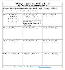 math fact families multiplication division math facts