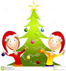 christmas tree trimming party clip art search cliparts images