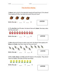 the gruffalo sharing dividing worksheet by femmefish86