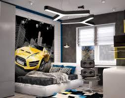 chambre ado et gris design interieur chambre ado garçon poster mural voiture peinture