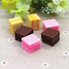 simulation 3d cuisine 10pcs kawaii simulation food resin 3d square waffle cookies diy