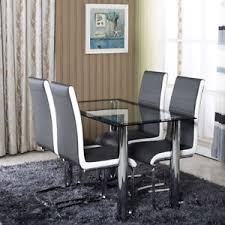 black dining room chairs set of 4 black side glass chrome dining table set 4 6 faux leather chairs