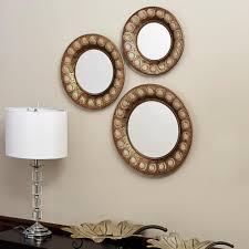 wood birdsong mirror leaner brown by ballard designs havenly round gold mirror set of 3