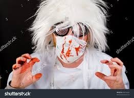 crazy doctor surgeon mask scrubs splattered stock photo 94014262