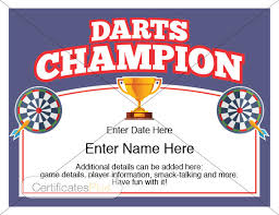 fun certificate templates darts certificate darts award template darts dart board