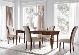 dining room adorable white fabric back armless chairs glossy teak