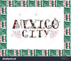 mexico city tribal illustration touristic banner stock vector