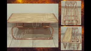 rose gold copper pipe u0026 oak wood luxury coffee table designer home