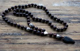 black natural stone necklace images Quality 8mm black natural stone beads with black stone wing jpg