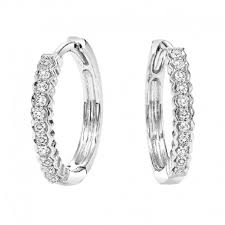 huggie hoop earrings diamond huggie hoop earrings in white gold