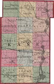 Illinois Map by Kane County Illinois 1870 Map