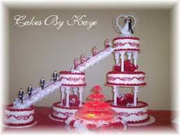 6 tier wedding cake with fountain u0026 stairs red white roses with
