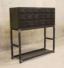 table with drawers and shelves entry table vintage parts drawer with square tube steel legs and