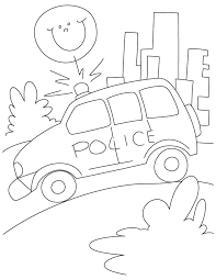police petrol car on road coloring page download free police