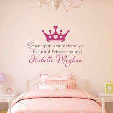 Custom Nursery Wall Decals Custom Made Once Upon A Time Personalized Name Princess Crown Wall