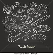 handdrawn sketches bakery products bread vector stock vector