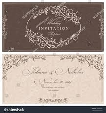 Marriage Invitation Card Wedding Invitation Cards Baroque Style Brown Stock Vector