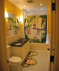 Funky Bathroom Rugs Cool Monkey Yellow Bath Rug With Large Framed Mirror For Kid