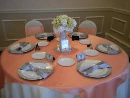 Table Cover Rentals by Wedding Tables With Peach Overlays Google Search Wedding Table
