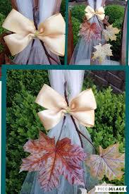 Fall Wedding Aisle Decorations - set of 6 autumn wedding decor fall pew bows leaves bows