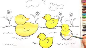 how to drawing ducks floating on water coloring page stars for