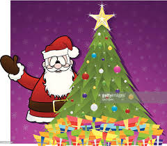 santa claus with christmas tree and gifts vector art getty images