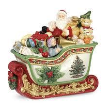 spode christmas tree santa in sleigh cookie jar 12 5 inch kitchen