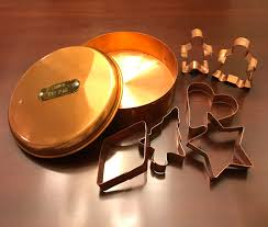 vintage copper cookie cutter canister cookie cutter set