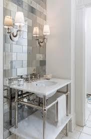 Powder Room Towels - elegant powder rooms with distressed mirror tile powder room