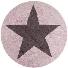 reversible round star cotton rug in pink and dark grey