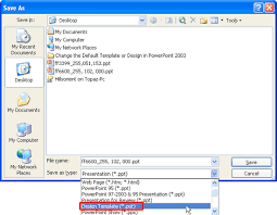 change the default template in powerpoint 2003