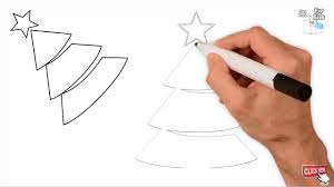 how to draw pyramid christmas tree easy step by step draw easy