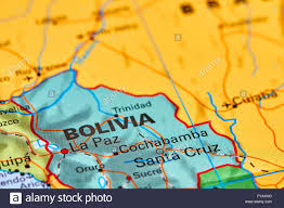 World Map South America by Bolivia Country In South America On The World Map Stock Photo
